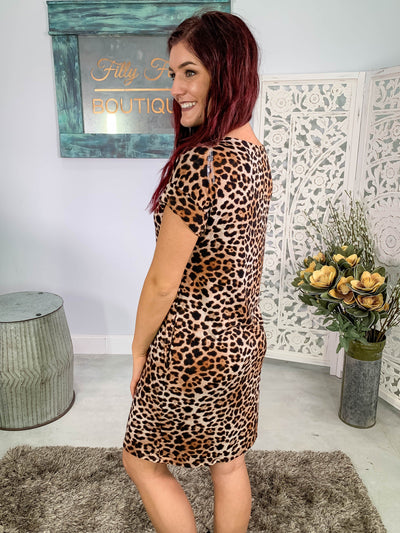 Just The Beginning Leopard Dress Boat Neck Pockets in Beige - Filly Flair
