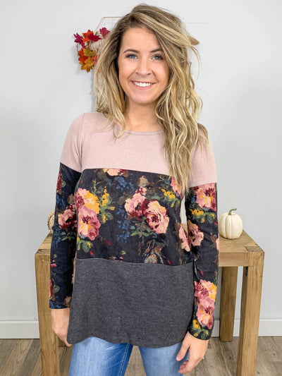 Need Your Lovin' Floral Color Block Long Sleeve Boat Neck Top in Mauve Grey - Filly Flair