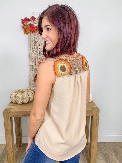 Who I Want To Be Crochet Sleeveless Top in Taupe - Filly Flair