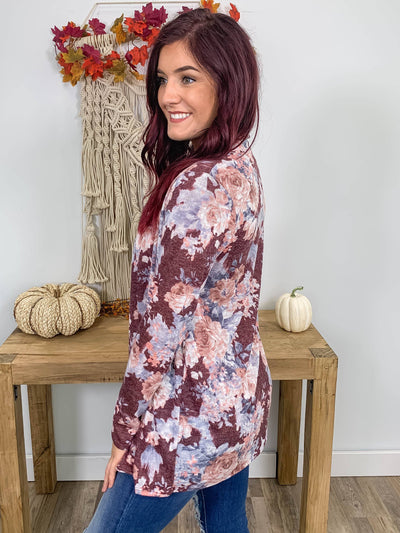All Your Perfect Imperfections Floral Open Front Long Sleeve Cardigan in Burgundy - Filly Flair