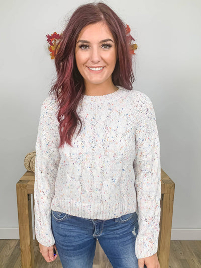 Over Come It All Confetti Sweater in White - Filly Flair