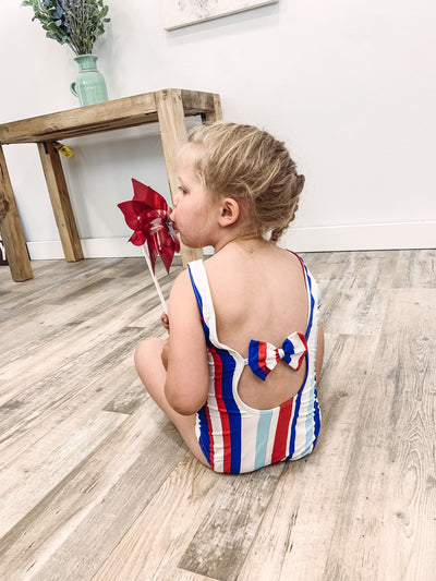 KIDS SWIM: By The Bay Striped One Piece Suit in Red Blue - Filly Flair