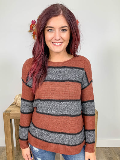 Follow Your Soul Striped Sweater Boat Neck Long Sleeve in Rust - Filly Flair