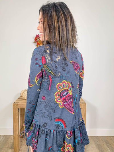 Pretty In Paisley Long Sleeve Ruffle Hem Top in Charcoal - Filly Flair