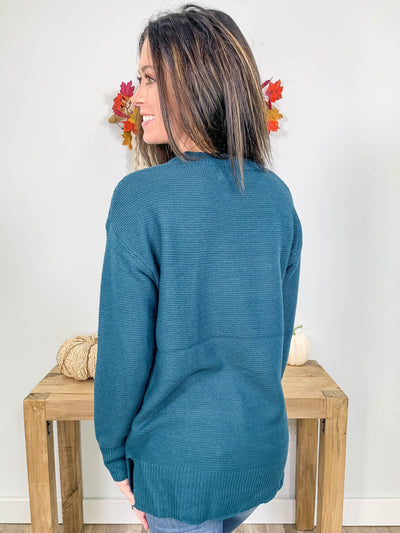 You Make It Easy Long Sleeve Ribbed Sweater in Teal - Filly Flair