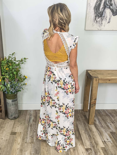 Have Faith Floral Lace Detail Open Back Hi Low Dress in White - Filly Flair