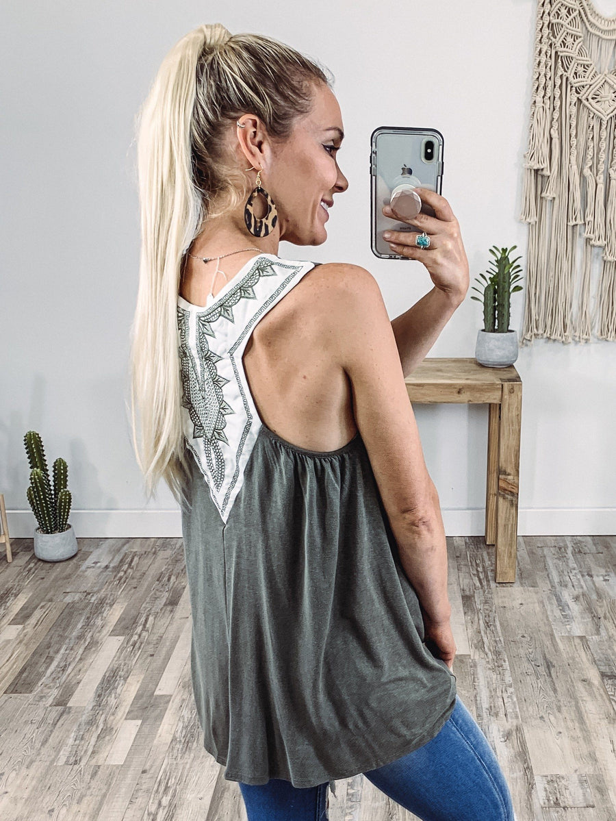 ed476413 Here We Go Sleeveless Embroidered White Racerback Tank Top in Olive
