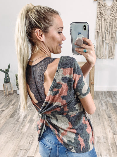 Find Your Love Short Sleeve Camo Twisted Open Back Top in Coral Olive Taupe - Filly Flair