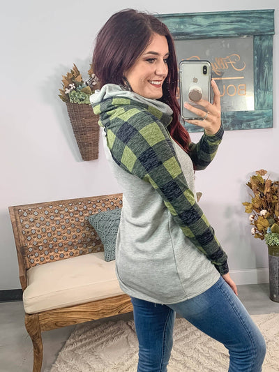 Better Myself Green Plaid Long Sleeve Cowl Neck in Grey - Filly Flair