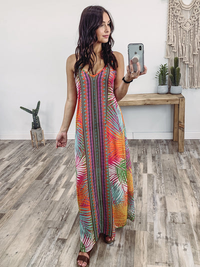Let You Down Sleeveless Multi-Colored Printed Maxi Dress - Filly Flair
