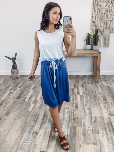 She's Beautiful Sleeveless Tie Dye Elastic Tie Waist Dress in Blue - Filly Flair
