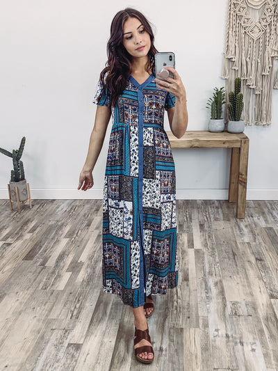 How I Feel Short Sleeve Button Down Printed Dress Jade Blue Rust - Filly Flair