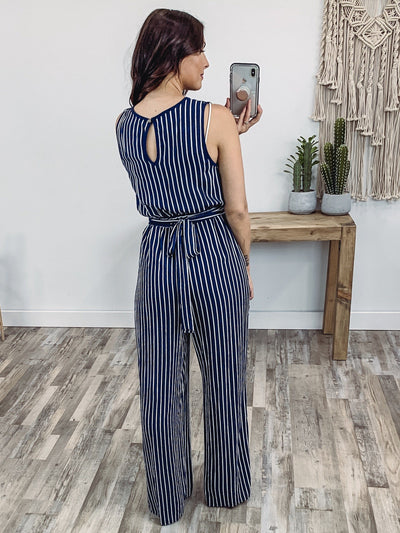 When Life Begins Sleeveless Striped Elastic Waist Jumpsuit in Navy White - Filly Flair