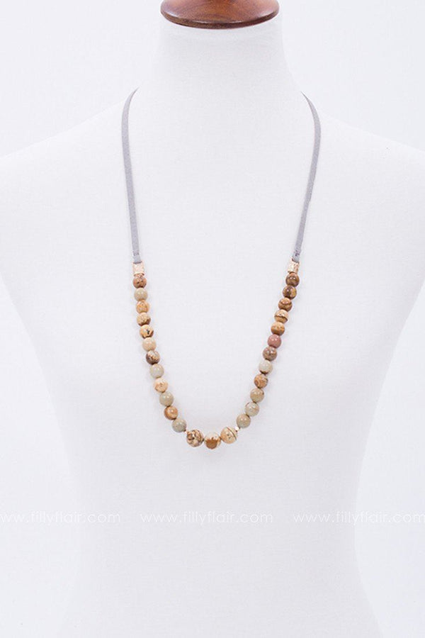 Shine On Beaded Necklace in Tan