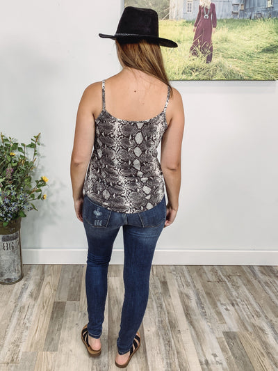 My Way Snakeskin Criss Cross Tie Hem Tank Top in Grey White - Filly Flair