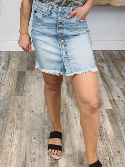 Kassie Kan Can Button Down Light Wash Jean Skirt - Filly Flair
