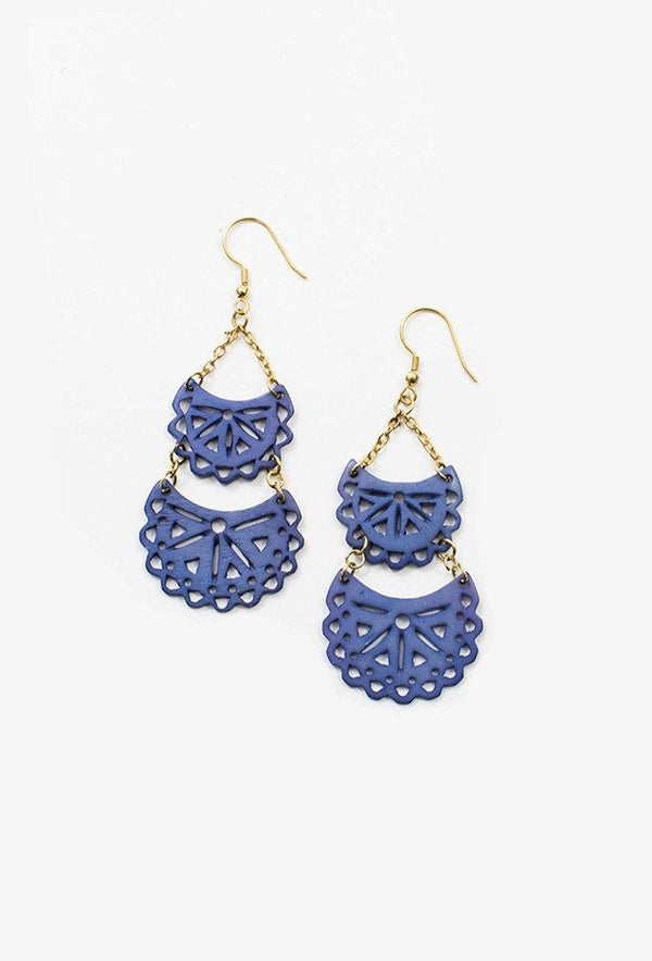 Etched Crescent Earrings in Blue
