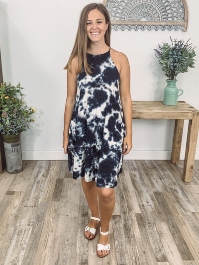 Our Favorite Song Sleeveless Tie Dye Halter Dress in Navy White - Filly Flair