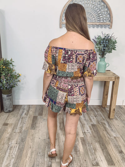 Dancing In The Dark Multi-Colored Printed Off The Shoulder Tie Waist Romper - Filly Flair