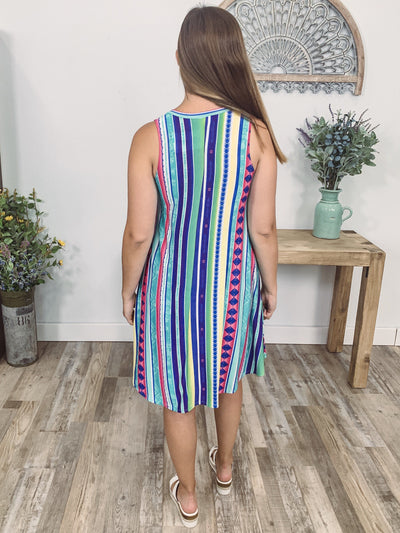 Looking Forward Sleeveless Multi-Colored Aztec Striped Dress - Filly Flair