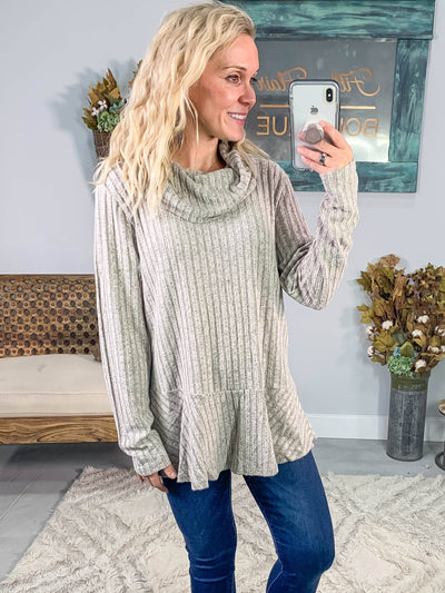 Pull Me Away Ribbed Long Sleeve Cowl Neck Top in Oatmeal - Filly Flair