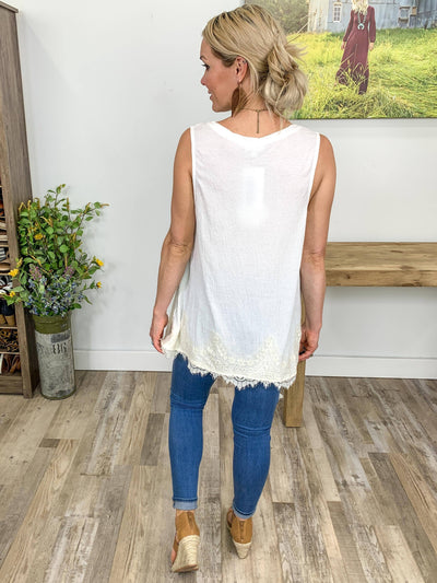 Make Yourself At Home Sleeveless Ivory Lace Hem Top in White - Filly Flair
