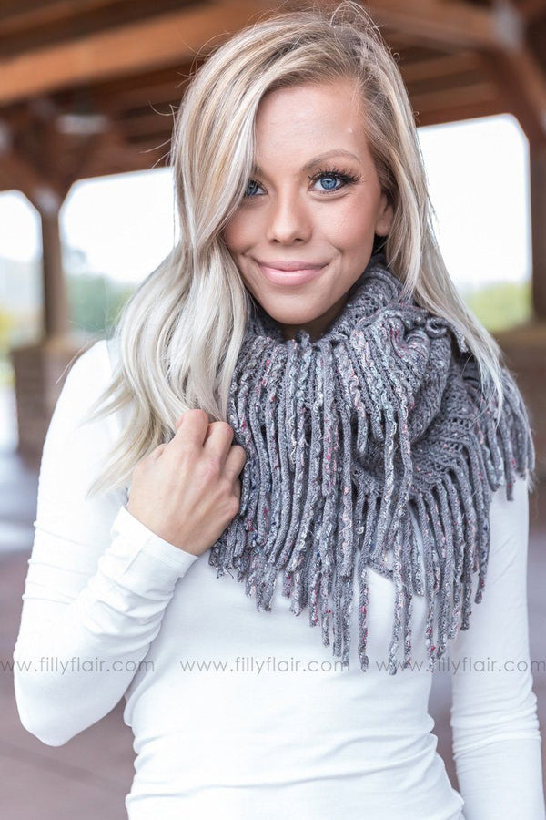 Get Cozy Fringe Infinity Scarf in Grey - Filly Flair