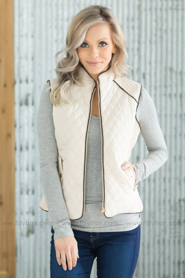 A New Beginning Puffy Zip Up Vest in Ivory - Filly Flair