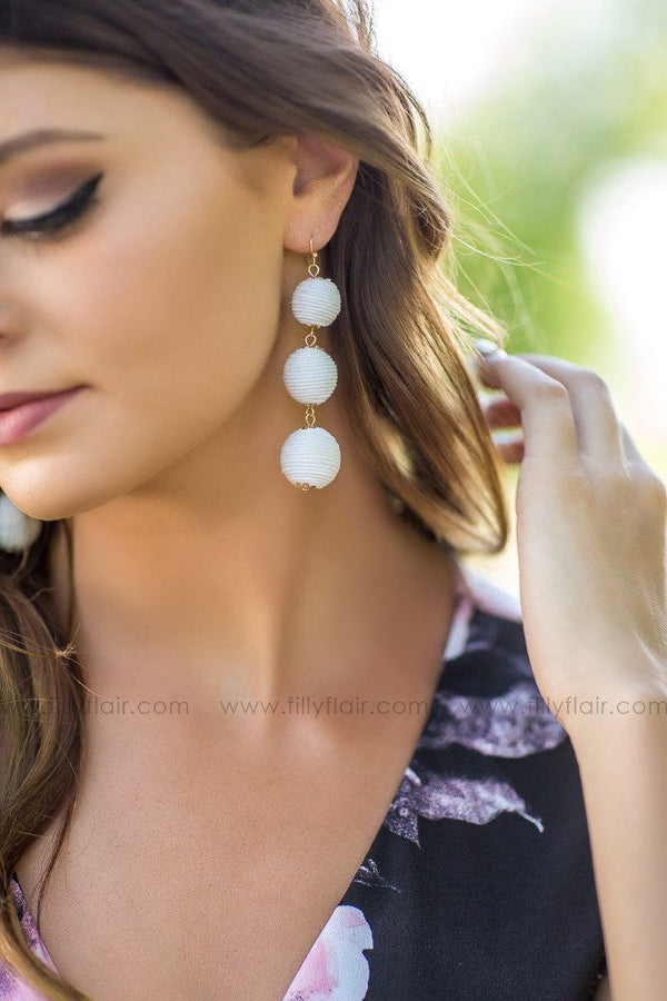 White Boho Wrapped Thread Three Ball Earrings