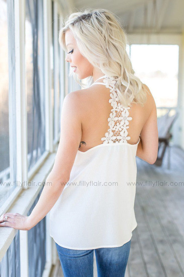 Long Time Love Crochet Tank in White