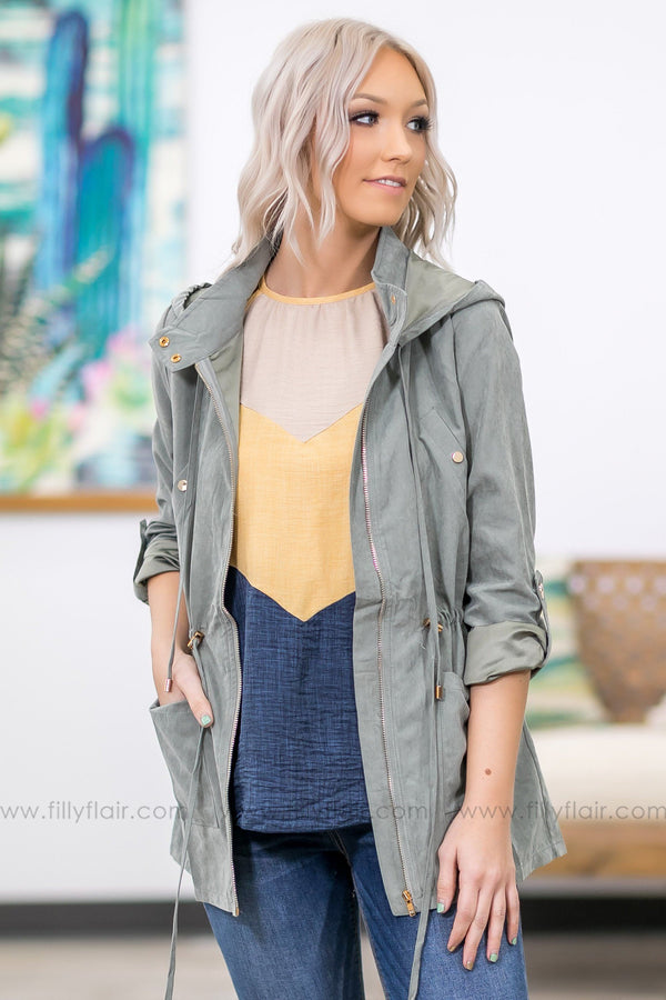 Here Without You Zip Up Hooded Jacket in Olive - Filly Flair