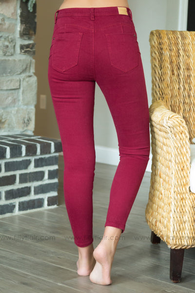 Have It All Skinny Jeans In Burgundy - Filly Flair
