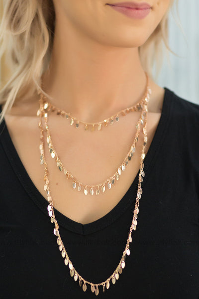 Spark In Me Layered Necklace in Rose Gold - Filly Flair