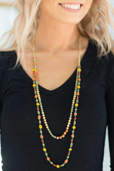Sunset Smile Layered Multi Colored Bead Necklace - Filly Flair