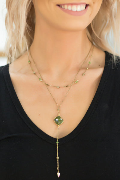 The Way It Was Olive Stone Layered Gold Necklace - Filly Flair