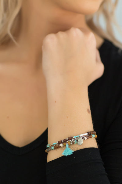It Ain't Over Beaded Layered Turquoise Tassel Bracelet - Filly Flair