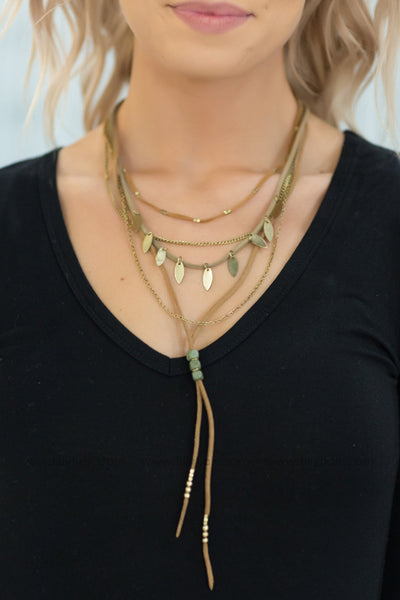 Why Can't I Suede Layered Necklace In Gold - Filly Flair