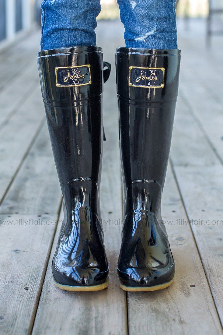 Joules Evedon rain boots in black and yellow