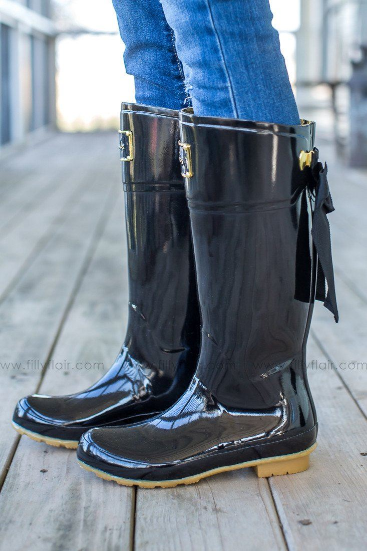 Evedon rain boots with bow back