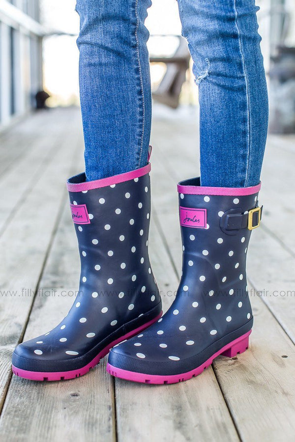 Joules welly rain boots in navy with white polkadots