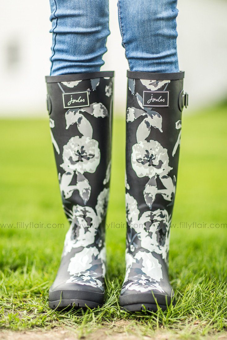 Joules rain boots in black floral print