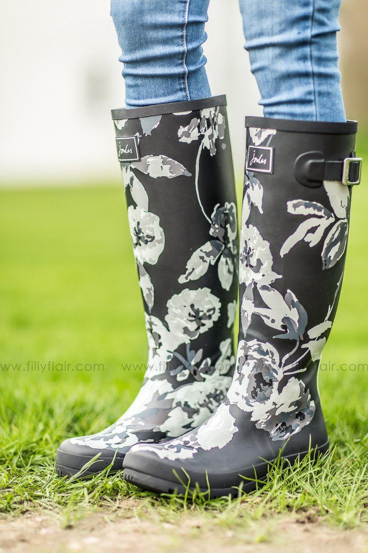 black and grey floral printed rain boots