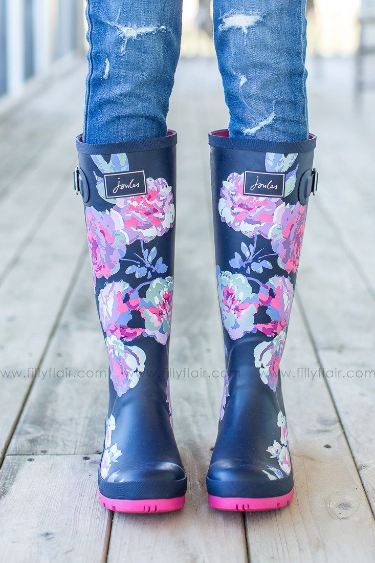 pink and navy joules rain boots