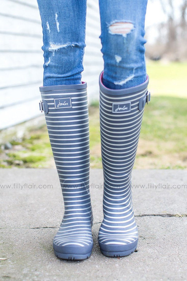 Striped joules grey rainboots