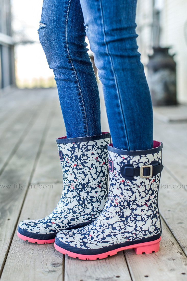 Joules floral print rain boots in pink and navy