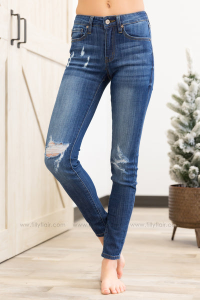 Kan Can Chanel-Keira Distressed Skinny Dark Wash Jeans - Filly Flair