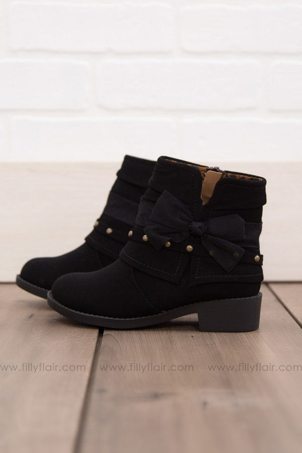 KIDS: Take A Bow Booties In Black