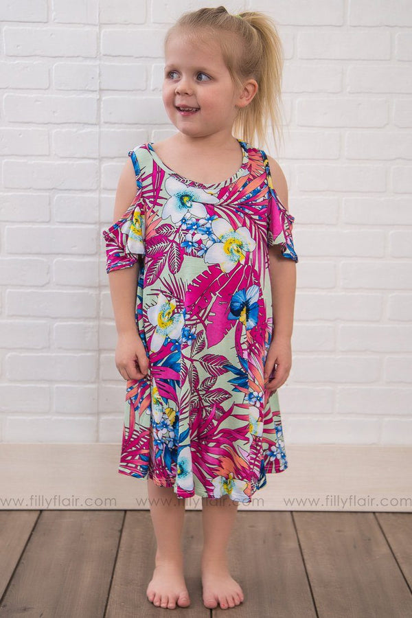 KIDS: All Play Today Floral Cold Shoulder Tunic Dress In Pink