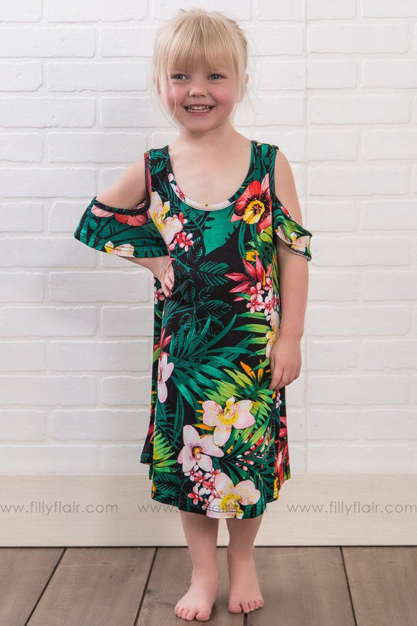 KIDS: All Play Today Floral Cold Shoulder Tunic Dress In Green