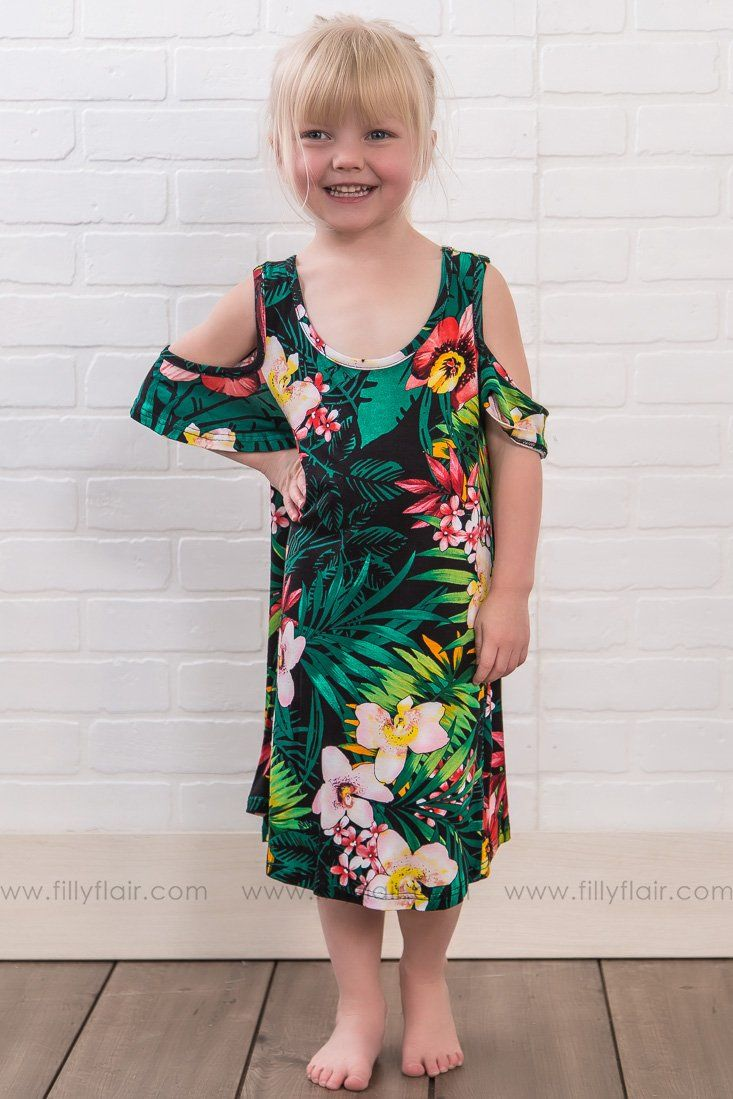 49e7b024bff KIDS: All Play Today Floral Cold Shoulder Tunic Dress In Green - Filly Flair